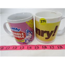 LOT OF 2 ADVERTISING MUGS (OH HENRY) *DOUBLE BUBBLE*