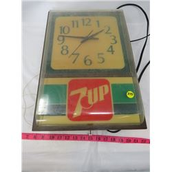 "7-UP CLOCK (VINTAGE) *ELECTRIC* (LIGHTS UP, CLOCK NOT WORKING PROPERLY* (12"" X 18"")"