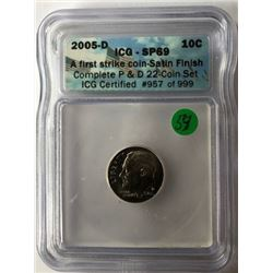 TEN CENTS COIN (ICG CERTIFIED ENCASED USA) *2005 D*