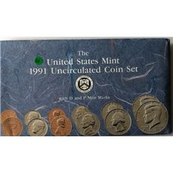 LOT OF TWO -1991 UNC US COIN SET (EACH SET HAS TWO COMPLETE SETS OF DENVER & PHI. MINTS WITH PAPERS