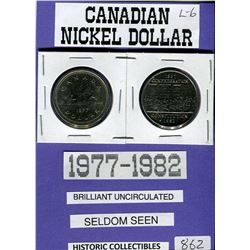 LOT OF 2 ONE DOLLAR COINS (1977-1982) *CANADA* (CANADIAN NICKLE DOLLAR)