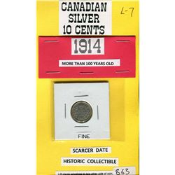 TEN CENT COIN (1914) *CANADA* (SILVER)