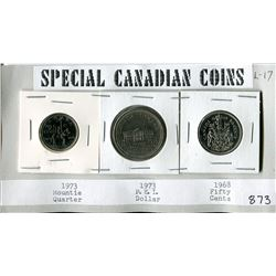 LOT OF 3 SPECIAL CANADIAN COINS ( 1973 MOUNTIE QUARTER, 1973 PEI DOLLAR, 1968 FIFTY CENT COIN)
