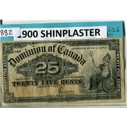 SHINPLASTER (1900) *DOMINION OF CANADA* (.25 CENTS)