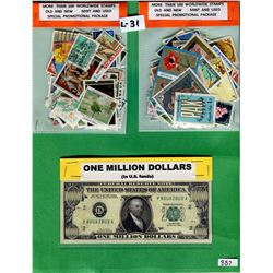 LOT INCLUDING 2 -100 STAMP PACKAGES AND NOVELTY MILLION DOLLAR BILL