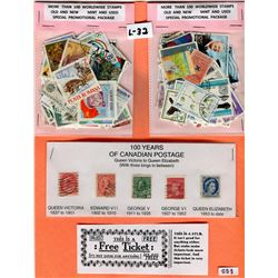 LOT INCLUDING 2-100 STAMP PACKAGES AND 5 STAMPS REPRESENTING 100 YEARS OF CANADA POSTAGE