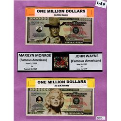 LOT OF 2 TOKEN MILLION DOLLAR BILLS ( JOHN WAYNE, MARILYN MONROE)