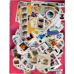 LOT OF HUNDREDS OF STAMPS (2 SIDED PACKAGE-NICE ASSORTMENT)