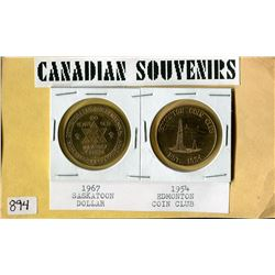 LOT OF 2 CANADIAN SOUVENIR COINS (1967 SASKATOON DOLLAR, 1954 EDMONTON COIN CLUB)