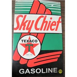 "TIN SIGN (TEXACO SKY CHIEF GASOLINE) *10""X19""* (REPRO)"