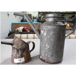 2 ANTIQUE OIL CAN AND FUEL JUG