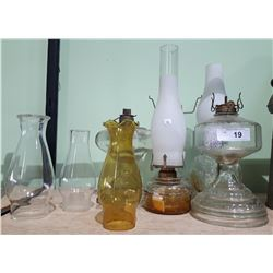 7 PC ANTIQUE OIL LAMPS AND PARTS