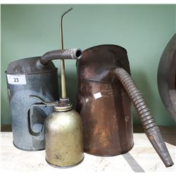 3 ANTIQUE OIL FILL CANS