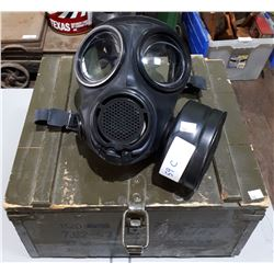 EXPERIMENTAL GAS MASK (NON-FUNCTIONAL MOVIE PROP) & VINTAGE EUROPEAN WOOD AMMO BOX