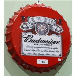 BUDWEISER BOTTLE CAP METAL SIGN