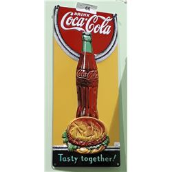 COCA COLA & HAMBURGER EMBOSSED METAL SIGN
