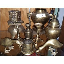 NINE PCS VINTAGE BRASS COLLECTIBLES