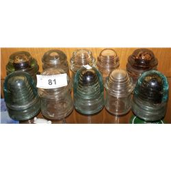 10 ANTIQUE GLASS INSULATORS