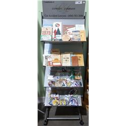 METAL DISPLAY STAND W/VINTAGE MAPS, BOOKLETS & PATCHES