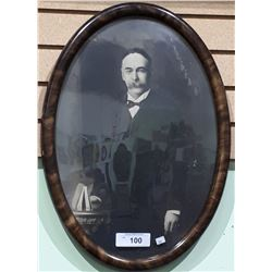 ANTIQUE PHOTO IN BUBBLE GLASS FRAME