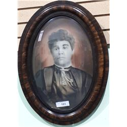ANTIQUE PHOTO OF LADY IN BUBBLE GLASS FRAMED