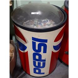 VINTAGE PEPSI ICE CHEST W/THOUSANDS OF POGS