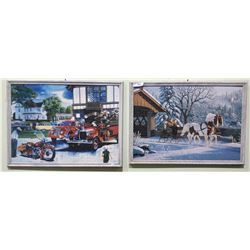 TWO FRAMED JIGSAW PUZZLES