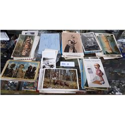 COLLECTION OF ANTIQUE POSTCARDS & PICTURES ETC