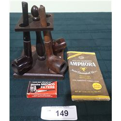 VINTAGE PIPES W/STAND & ACCESSORIES