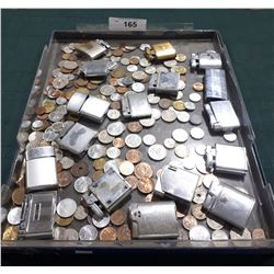 LARGE TRAY OF VINTAGE LIGHTERS & WORLD COINS