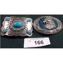 TWO TURQUOISE & STAINLESS STEEL BELT BUCKLES