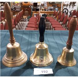 THREE VINTAGE BRASS WOOD HANDLED SCHOOL BELLS