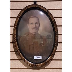 WWI SOLDIER PHOTO IN BUBBLE GLASS FRAMED