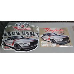 TWO NEW OLD STOCK RAYBESTOS MUSTANG SIGN & POSTER