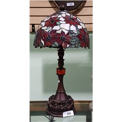 TIFFANY STYLE POINTSETTIA STAINED GLASS TABLE LAMP