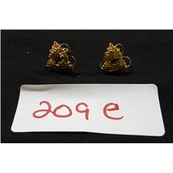 PAIR 12KT GOLD EARRINGS W/STERLING SILVER SCREWBACKS