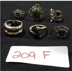 EIGHT STERLING RINGS W/STONES