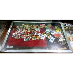 TABLE TOP DISPLAY CASE W/COLLECTIBLE SMALLS