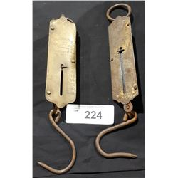 2 ANTIQUE BRASS HANGING SCALES