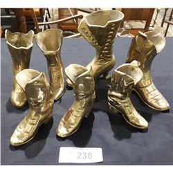 SEVEN VINTAGE BRASS BOOTS