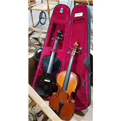 TWO VIOLINS W/ONE CASE