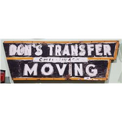 VINTAGE DON'S TRANSFER MOVING WOOD SIGN