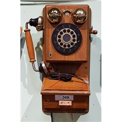 ANTIQUE STYLE WOOD PUSH BUTTON WALL PHONE
