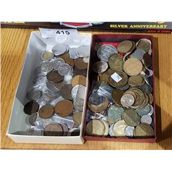 TWO TRAYS VINTAGE WORLD COINS