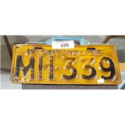 1935 ONTARIO LICENSE PLATE