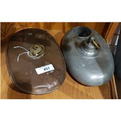 TWO ANTIQUE METAL CANTEENS