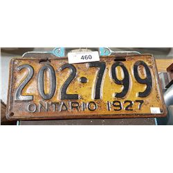 1927 ONTARIO LICENSE PLATE