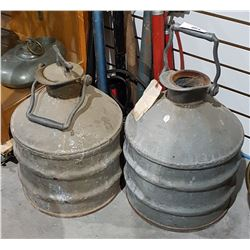 TWO ANTIQUE GALVANIZED FUEL CANS