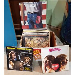 BOX ASSORTED ROCK RECORDS