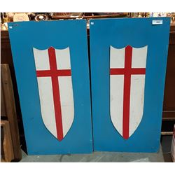TWO WOOD SHIELD WALL PLAQUES